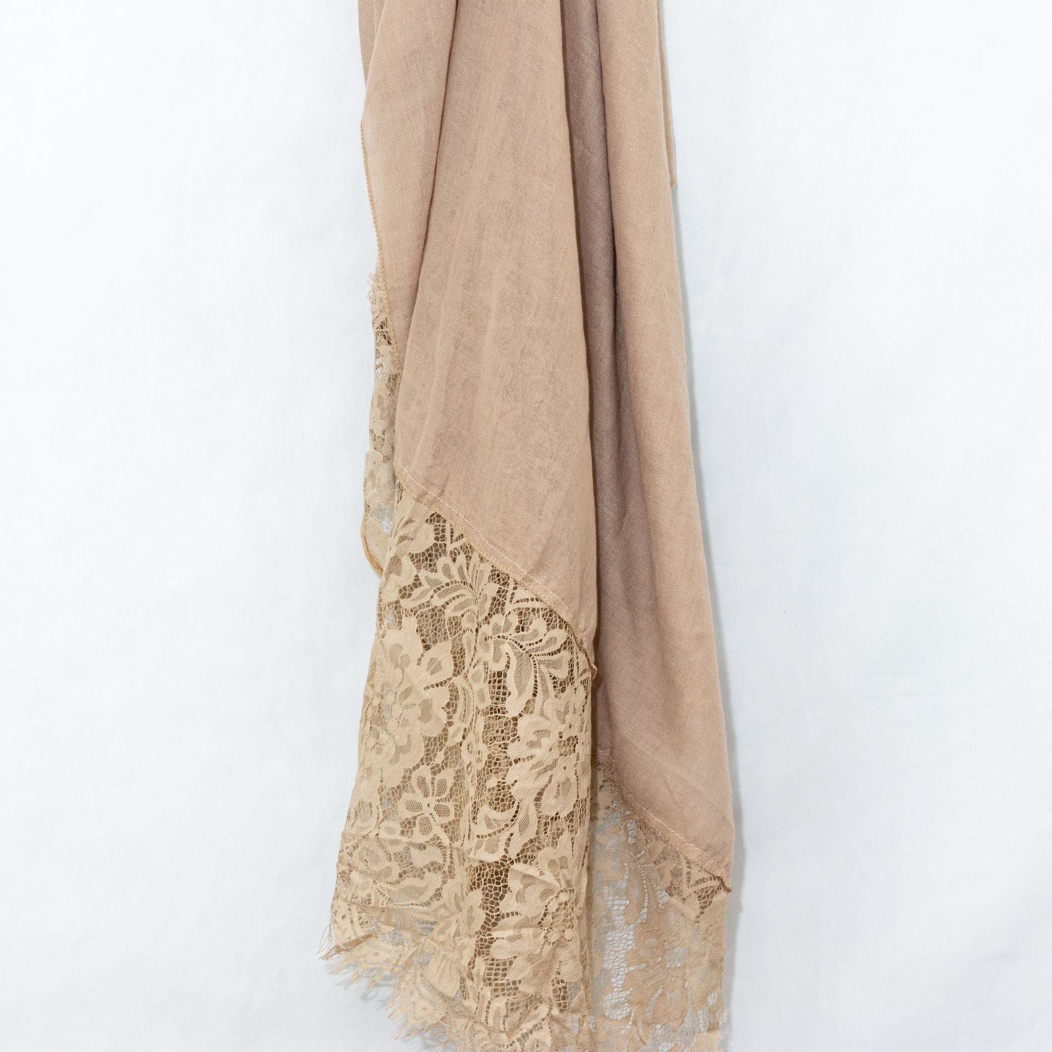 Nude Premium Lace Cotton Viscose Hijab