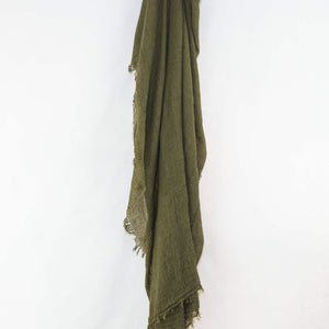 Olive Green Cotton Crinkle Hijab