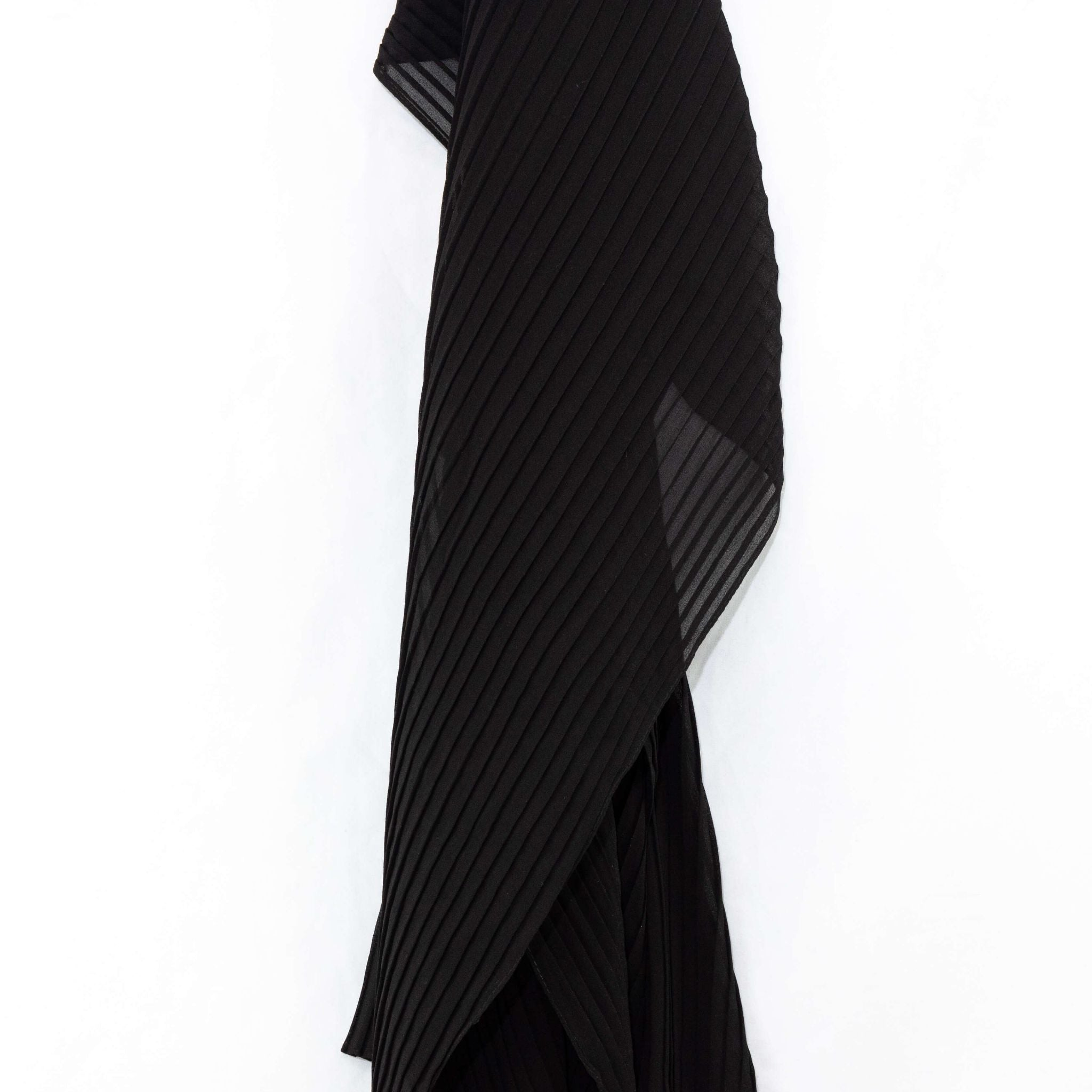 Onyx Black Pleated Chiffon Hijab