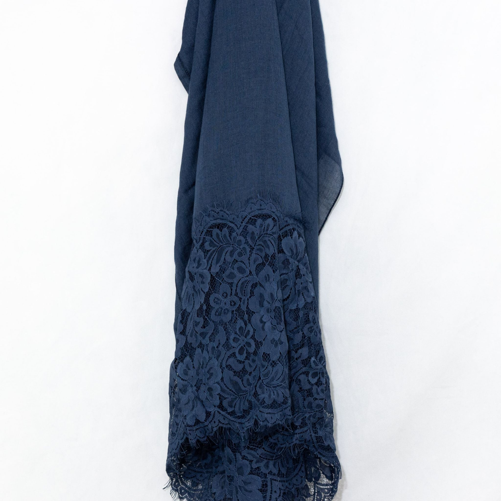Persian Blue Premium Lace Cotton Viscose Hijab