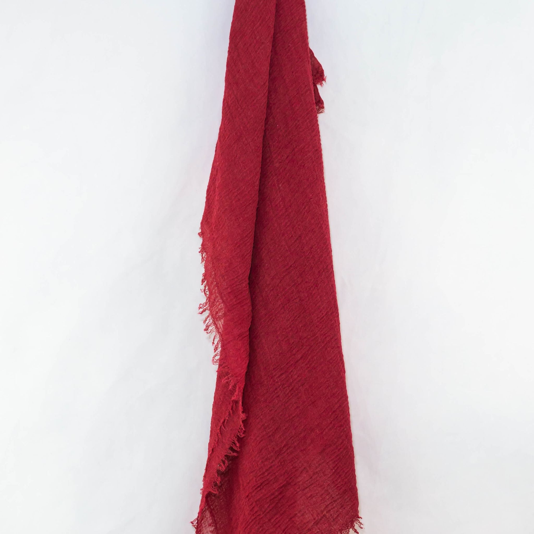 Red Cotton Crinkle Hijab