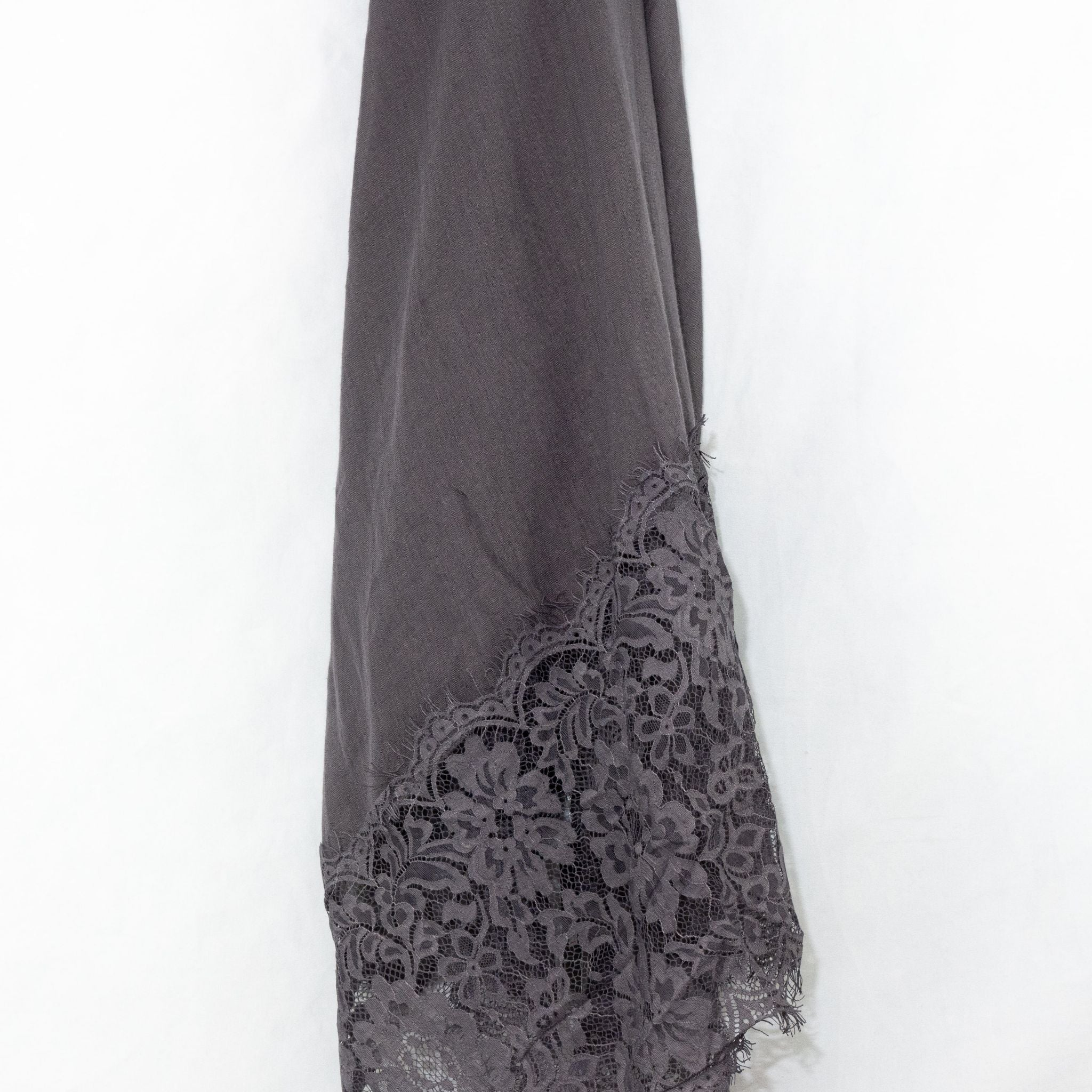 Storm Grey Premium Lace Cotton Viscose Hijab