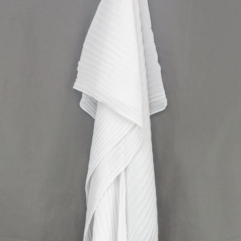 White Pleated Chiffon Hijab
