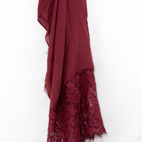 Wine Premium Lace Cotton Viscose Hijab