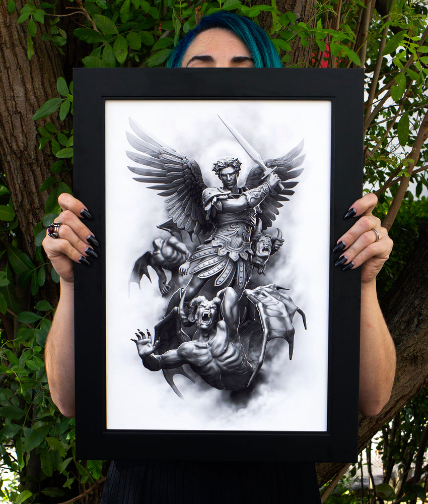 Load image into Gallery viewer, Saint Micheal Arc Angel artwork in Frame by Javier Antunez