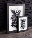 Saint Micheal Arc Angel artwork in Frame by Javier Antunez