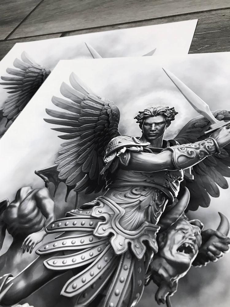 Load image into Gallery viewer, Saint Micheal Arc Angel artwork Close Up by Javier Antunez