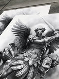 Saint Micheal Arc Angel artwork Close Up by Javier Antunez