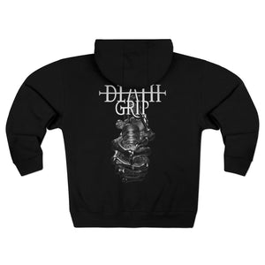 Load image into Gallery viewer, Hoodie SILVER DEATHGRIP - Unisex Premium Full Zip Hoodie - Tattooed Theory