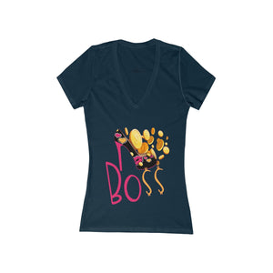 Boss Women's Jersey Short Sleeve Deep V-Neck Tee