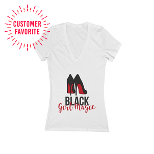 Black Girl Magic Women's Jersey Short Sleeve Deep V-Neck Tee