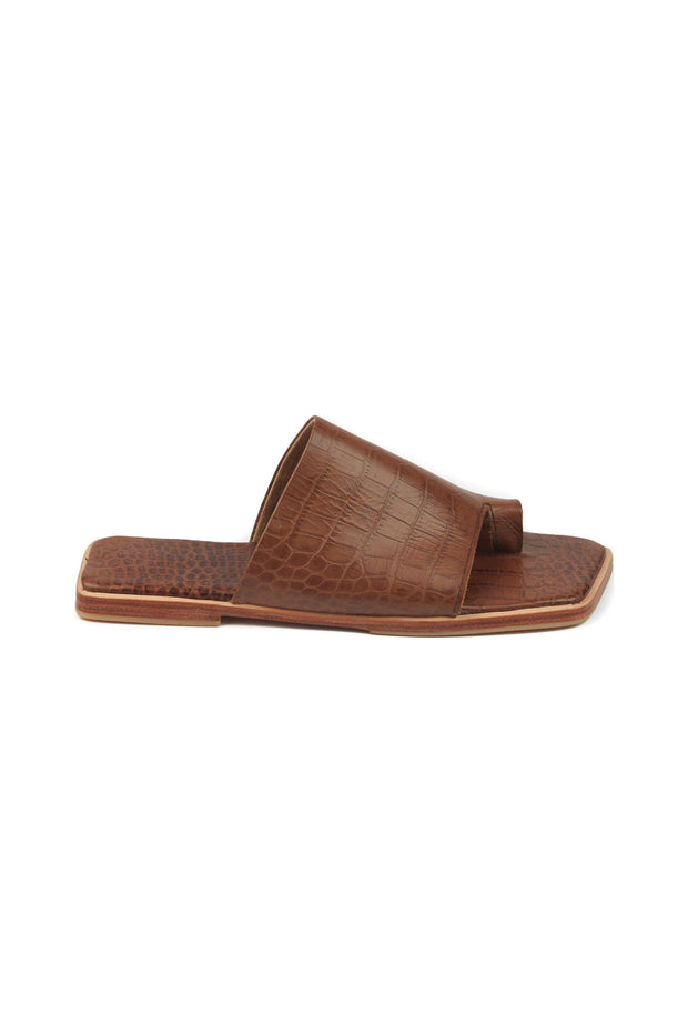 Arin Flats Brown Croc