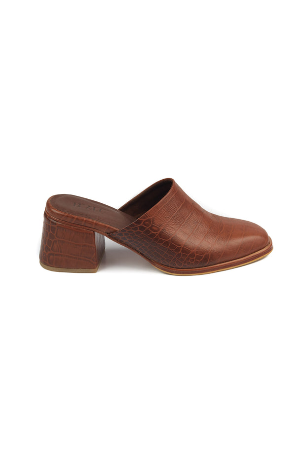 Etsu Mules Brown Croc