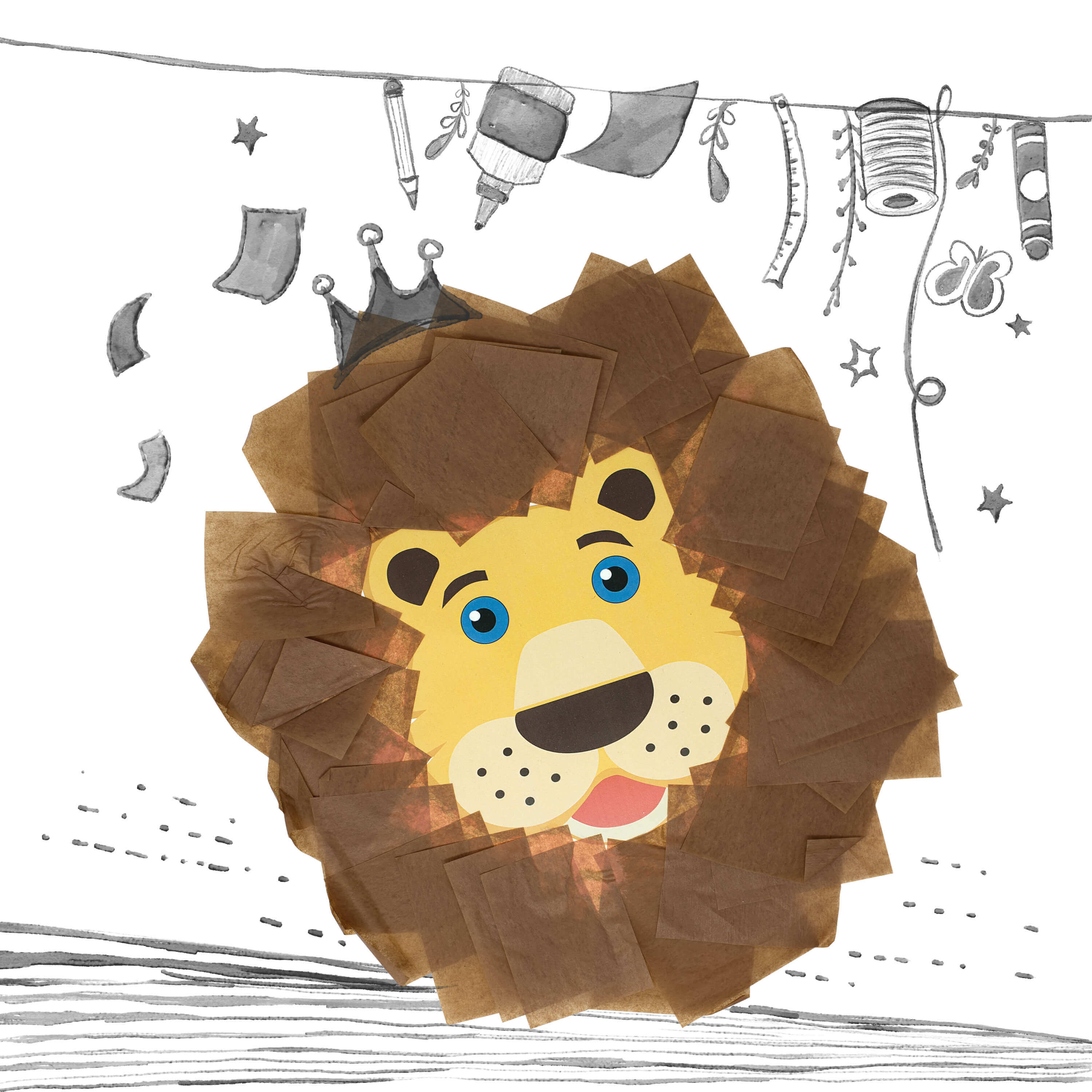 Tissue Paper Lions Mask