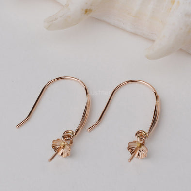 18K Gold Earring Hooks with Eyepin Bead Caps