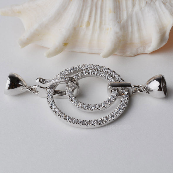 sterling silver  cubic zirconias round circle spring clasp