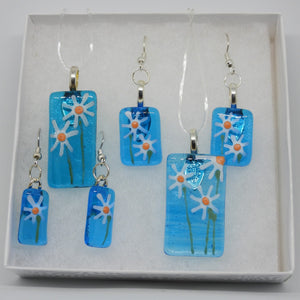 Opaque Blue Necklace / Earrings