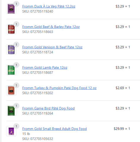 Jake's delivery ordering with assortment of Fromm canned wet dog foods