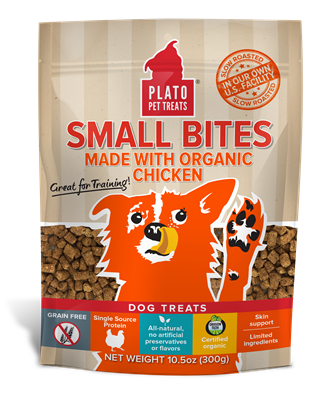 Plato Pet Treats Small Bites Treats, 4-Ounce, Organic Chicken