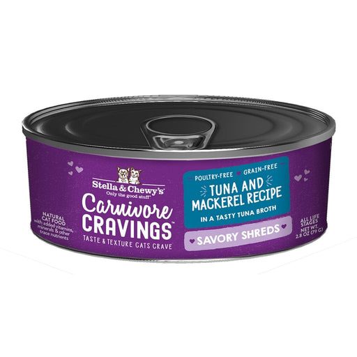 Stella & Chewy's Carnivore Cravings Savory Shreds Cat Food, Tuna & Mackerel Recipe