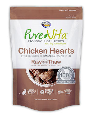 PureVita Freeze Dried Chicken Heart Cat Treats .8 oz