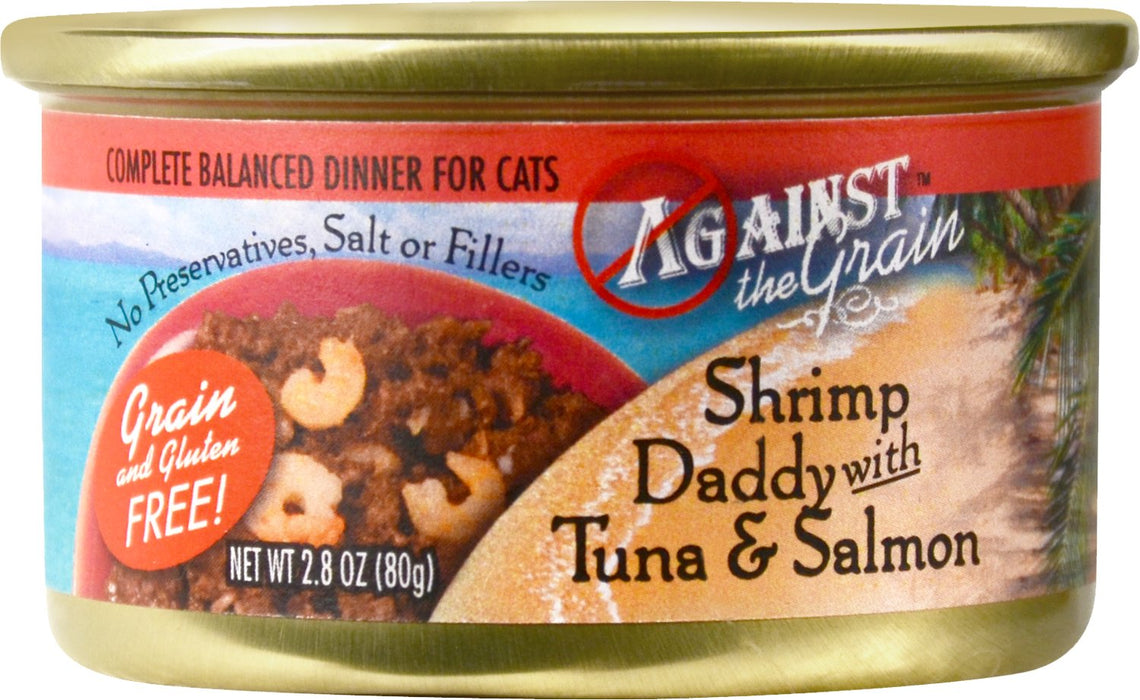Evangers Cat Against the Grain Can Cat Food Shrimp Daddy Tuna Salmon 2.8 oz