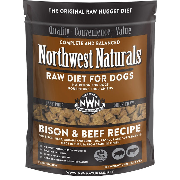 Northwest Naturals Frozen Bison and Beef Nuggets 6 lb