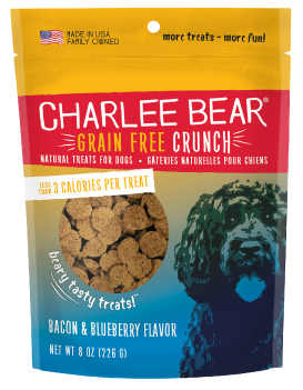 Charlee Bear Crunch Bacon and Blueberry Grain Free Treats 8 oz