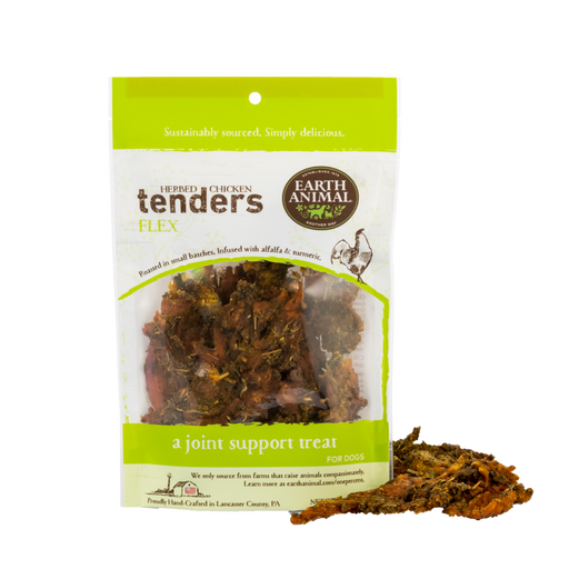 Earth Animal Chicken Tenders Treat, Flex: Alfalfa & Turmeric 4 oz