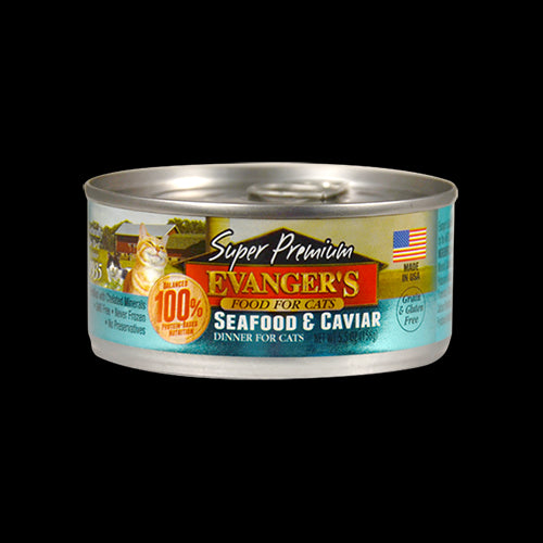 Evangers Cat Can Grain Free Premium Seafood and Caviar 5.5 oz