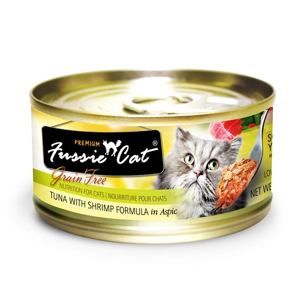 Fussie Cat Premium Tuna and Shrimp Canned Cat Food 2.8 oz
