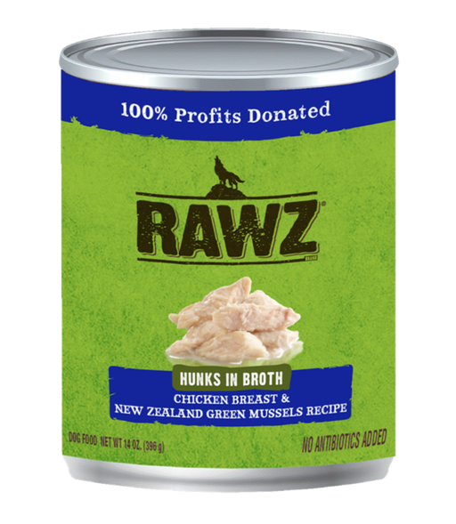 Rawz Hunks in Broth Chicken Breast & New Zealand Green Mussels Recipe 14oz
