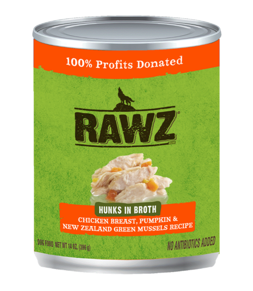 Rawz Hunks in Broth Chicken Breast, Pumpkin & New Zealand Green Mussels Recipe 14oz