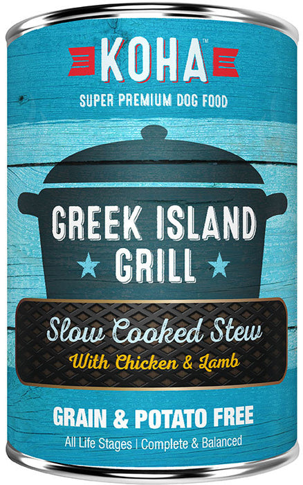 Koha Dog Can Greek Island Grilled Chicken Lamb 12.7oz