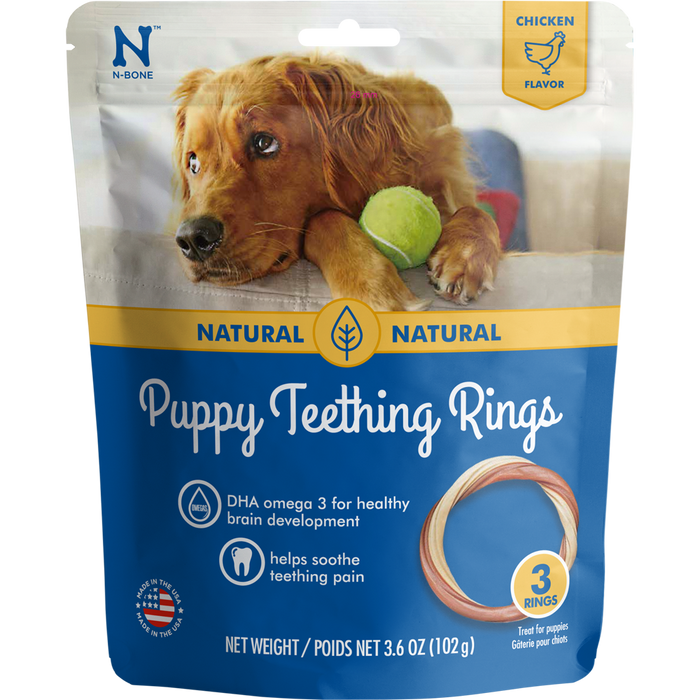 N-Bone Puppy Teething Ring 3-Pack Chicken