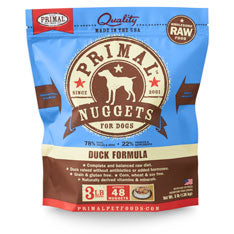 Primal Dog Frozen Nuggets Duck 3 lbs