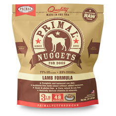 Primal Dog Frozen Nuggets Lamb 3 lbs