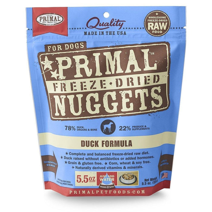 Primal Freeze-Dried Duck Dog Food 5.5 oz Nuggets