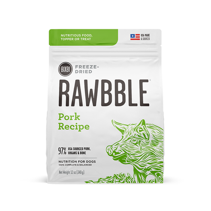 Bixbi Rawbble Freeze-Dried Pork Recipe Dog Food