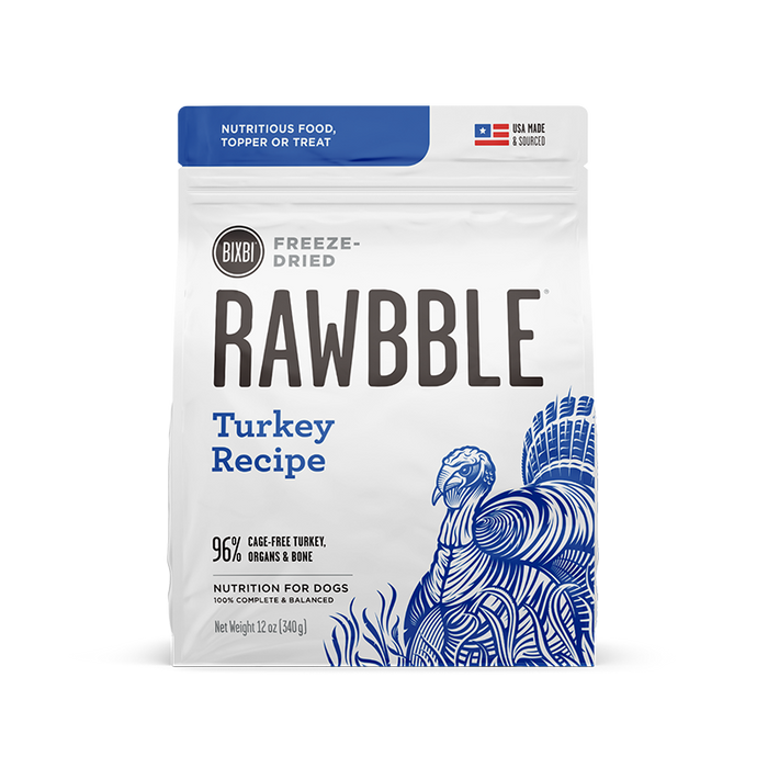 Bixbi Rawbble Freeze-Dried Turkey Recipe Dog Food