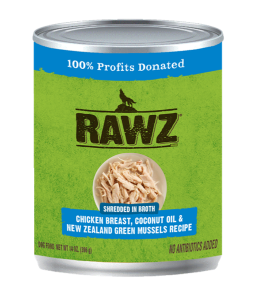 Rawz Shredded in Broth Chicken Breast, Coconut Oil & New Zealand Green Mussels Recipe 14oz