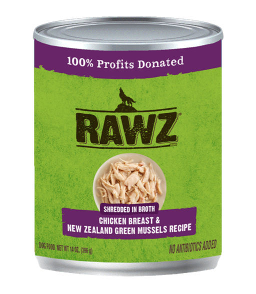 Rawz Shredded in Broth Chicken Breast & New Zealand Green Mussels Recipe 14oz