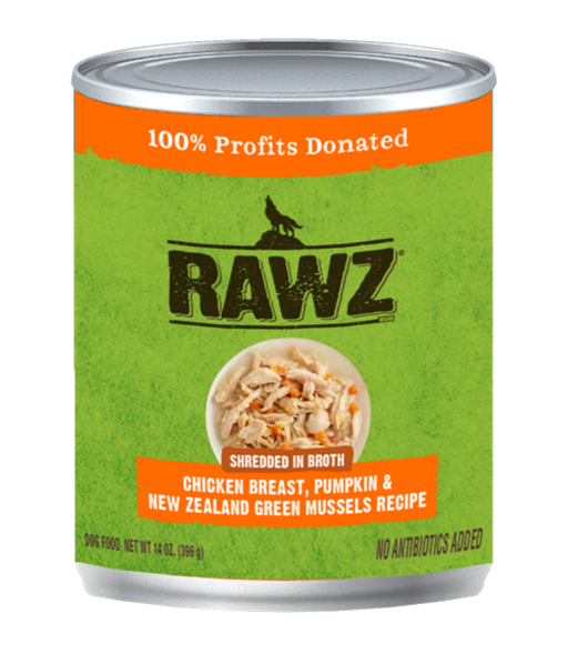 Rawz Shredded in Broth Chicken Breast, Pumpkin & New Zealand Green Mussels Recipe 14oz