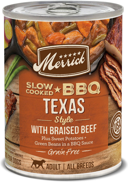Merrick Slow-Cooked BBQ Texas Style Braised Beef Grain-Free Wet Dog Food, 12.7 oz
