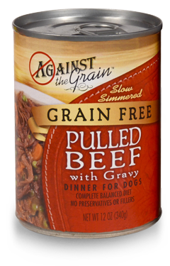 Against The Grain Hand Pulled Beef Canned Dog Food 13oz