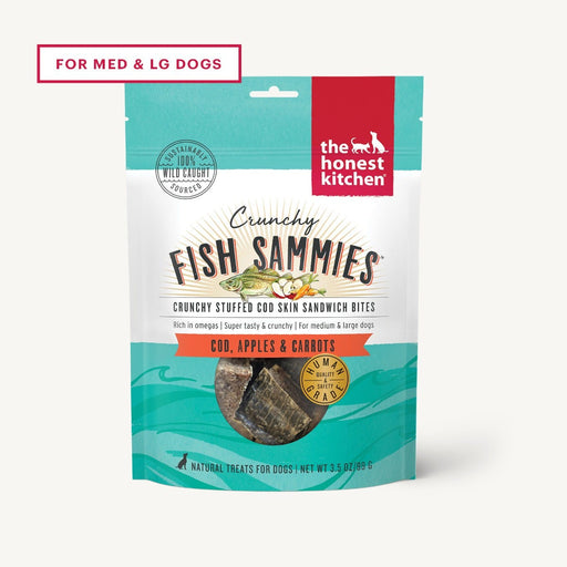 The Honest Kitchen Crunchy Fish Sammies Dog Treat, Cod Stuffed with Carrots and Apples 3.5 oz