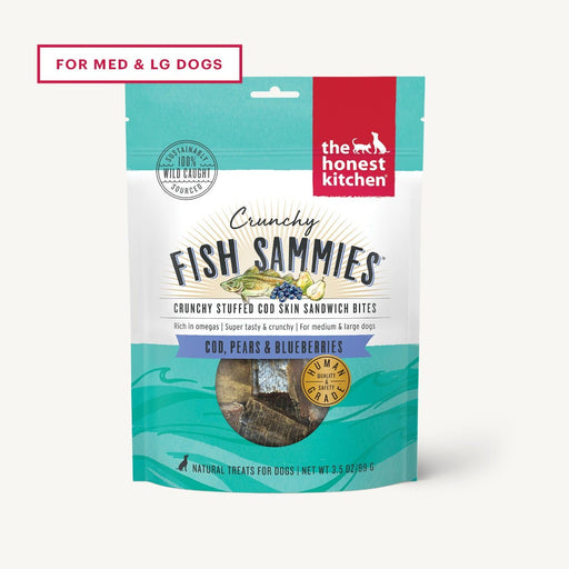 The Honest Kitchen Crunchy Fish Sammies Dog Treat, Cod Stuffed with Pears and Blueberries 3.5 oz