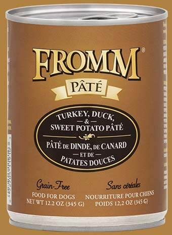 Fromm Dog Can Grain Free Turkey Duck and Sweet Potato Pate 12.2 oz