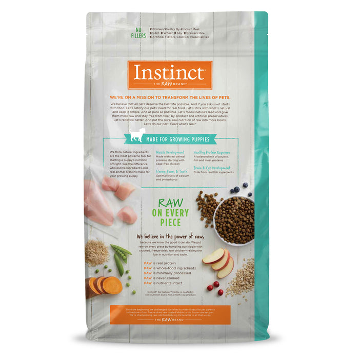Instinct Be Natural Raw Coated Chicken & Brown Rice Dry Puppy Food, 24 lbs