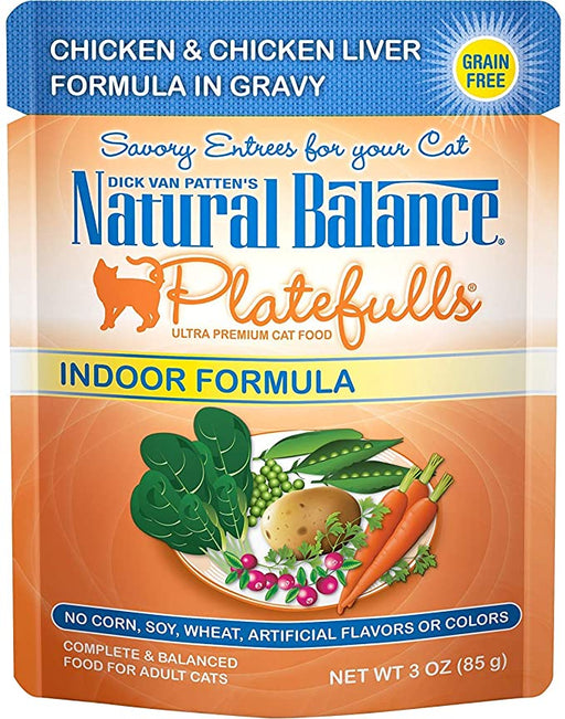 Natural Balance Feline Platefulls Indoor Chicken and Chicken Liver 3oz